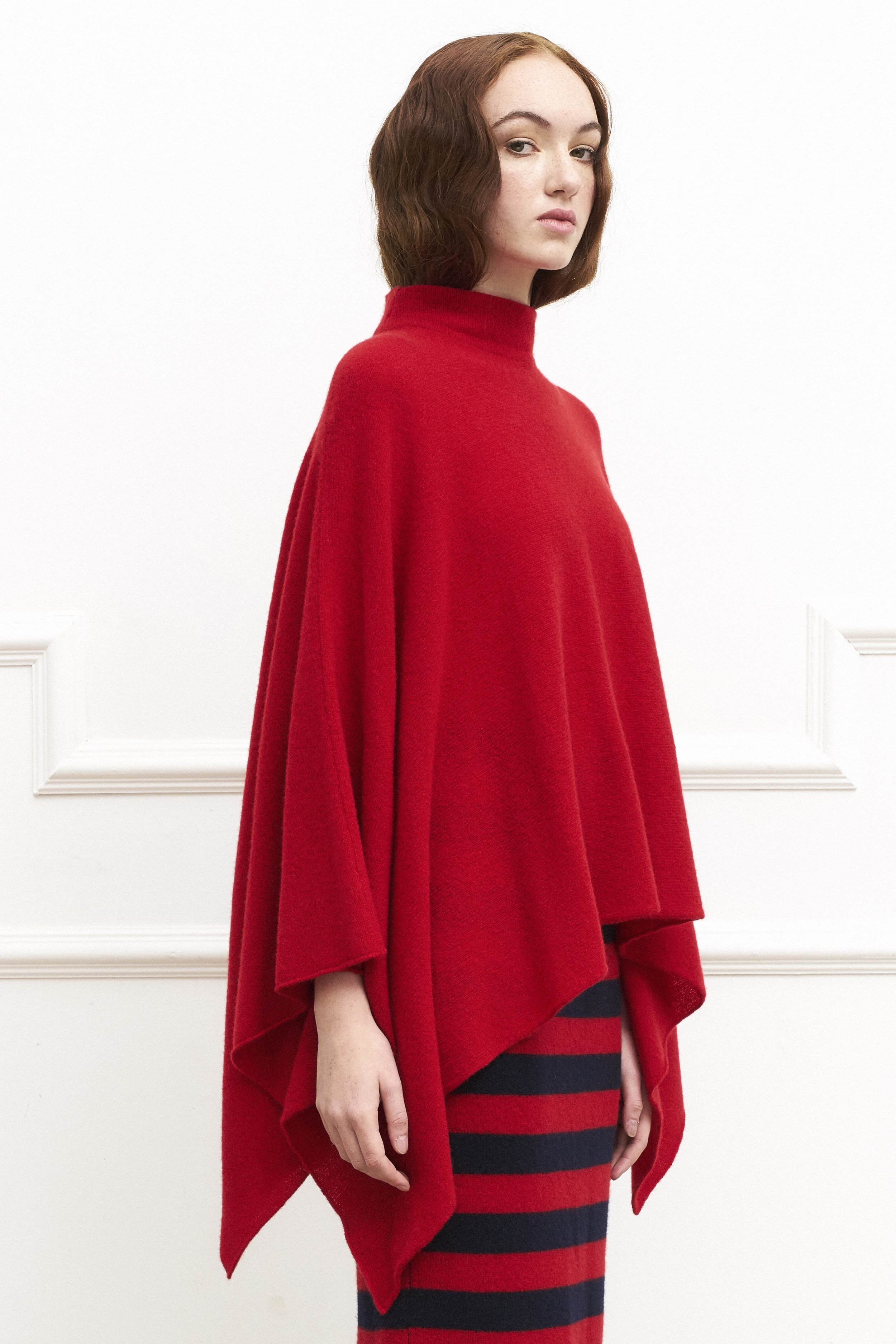 Ruby Red Funnel Neck Poncho €555.jpg