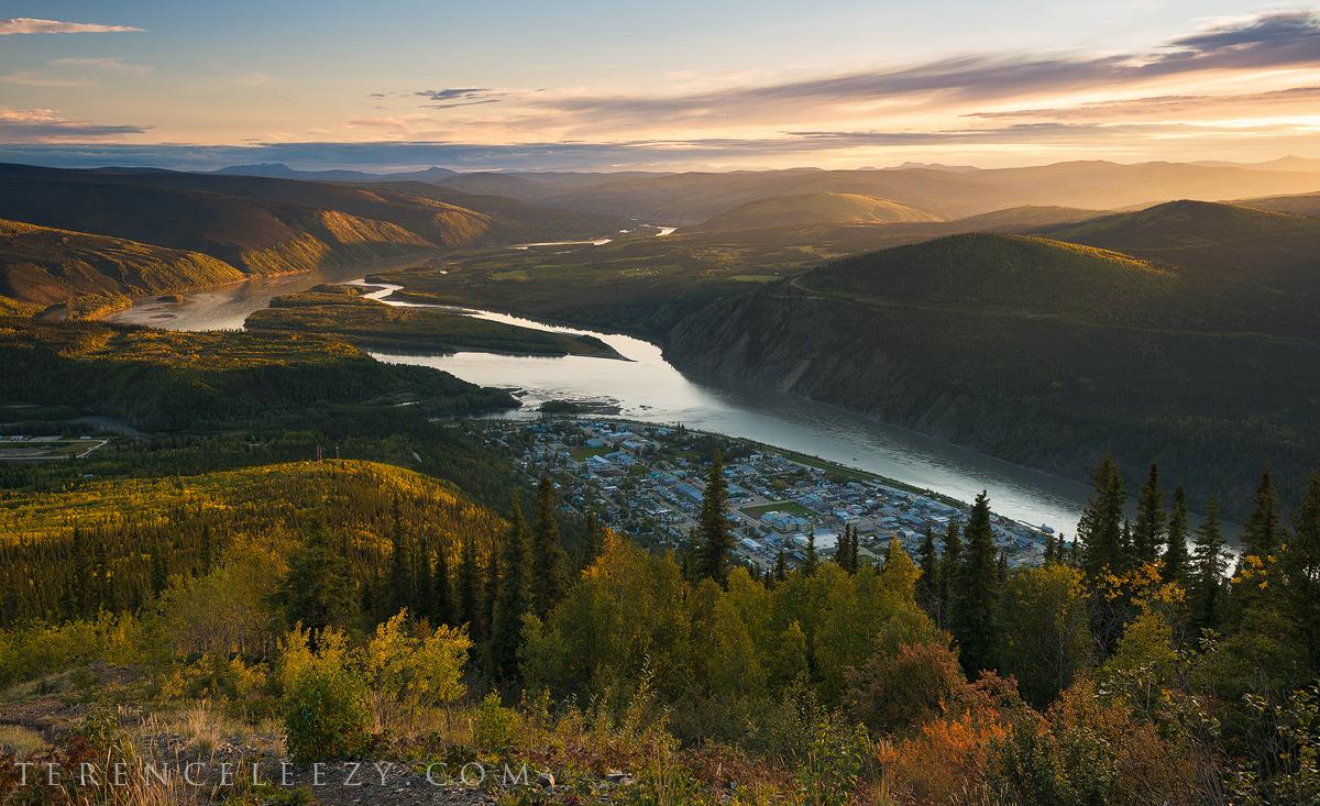 Sunset at Dawson City, Yukon, Canada from Midnight Dome