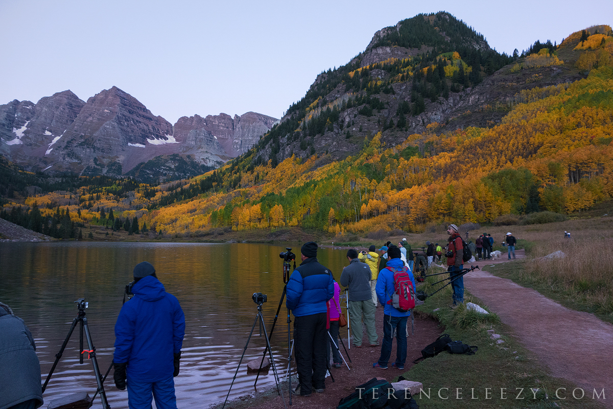 This is just one section of the lake that was lined with photographers patiently awaiting sunrise. Shot with Sony RX100.