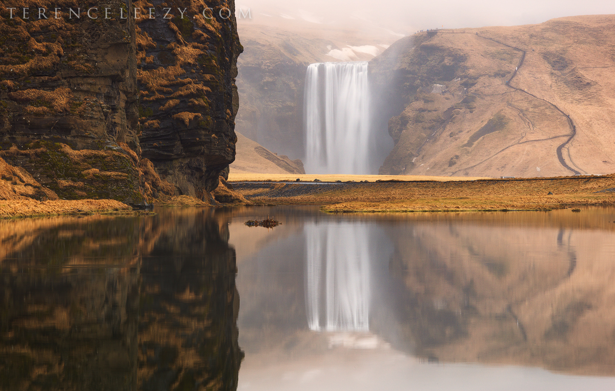 Reflections of Skógafoss, Iceland