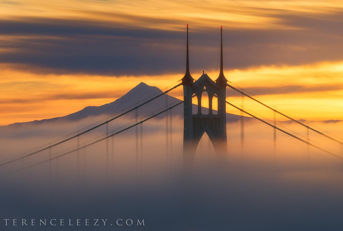 February - St John Bridge and Mount Hood from Portland, Oregon.