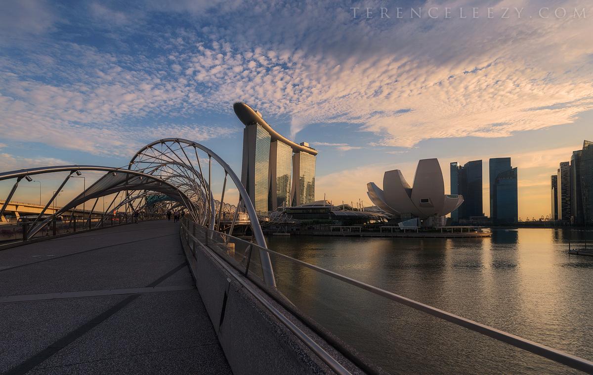 Marina Bay Sands with the Helix Bridge