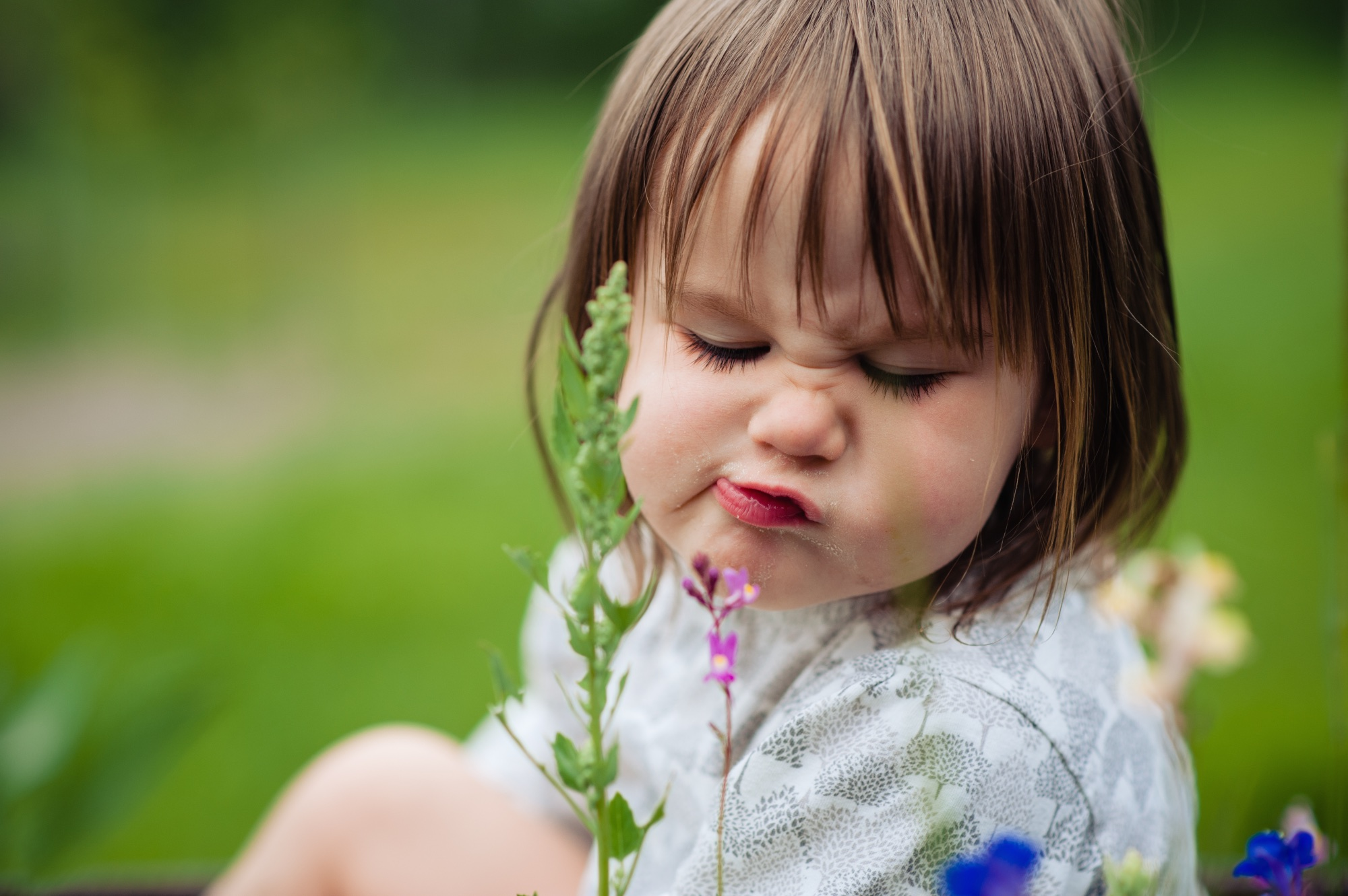 """""""smelling"""" the flowers"""