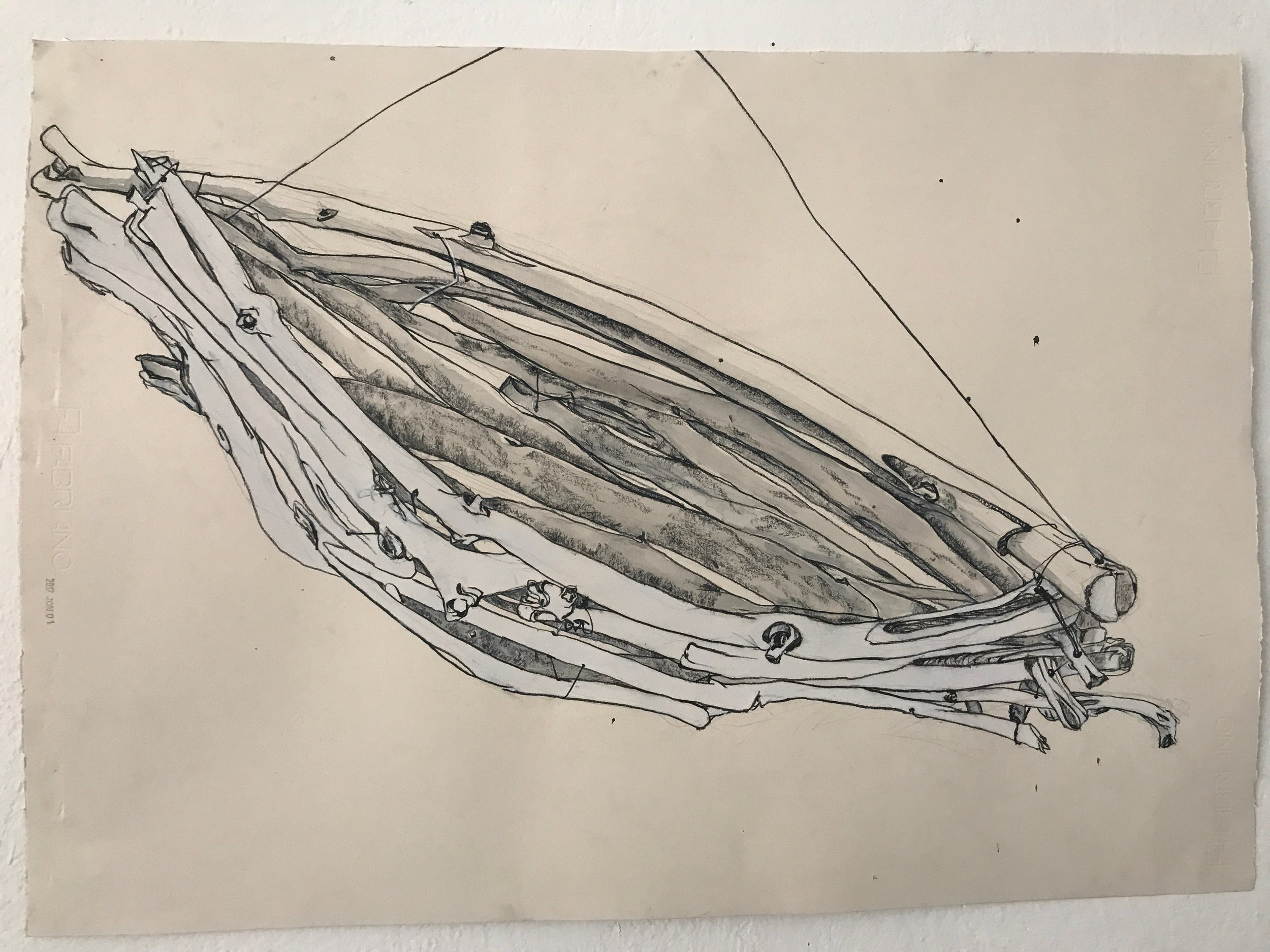 Documentary drawing of one of the boat elements from the installation.