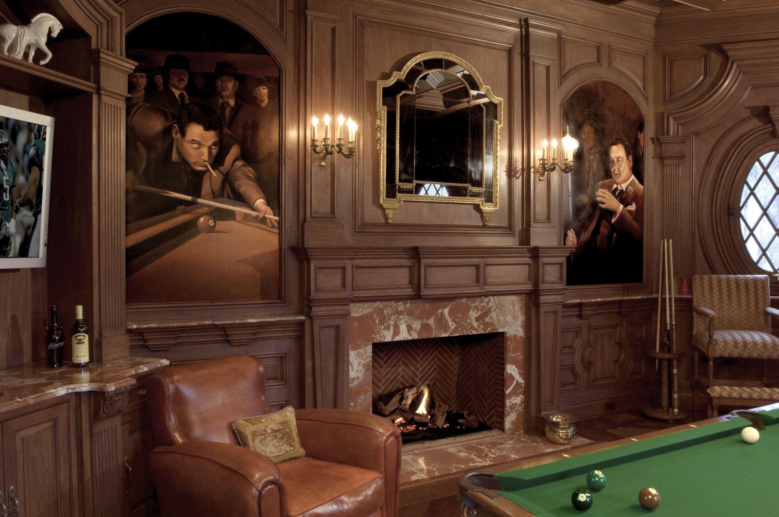 Billiard Room Mural Saddle River, NJ