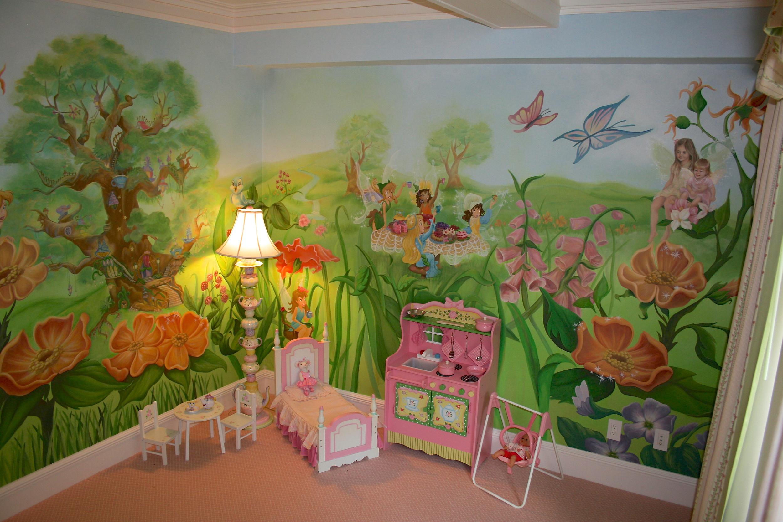 Tinker Bell Kids Bedroom Mural