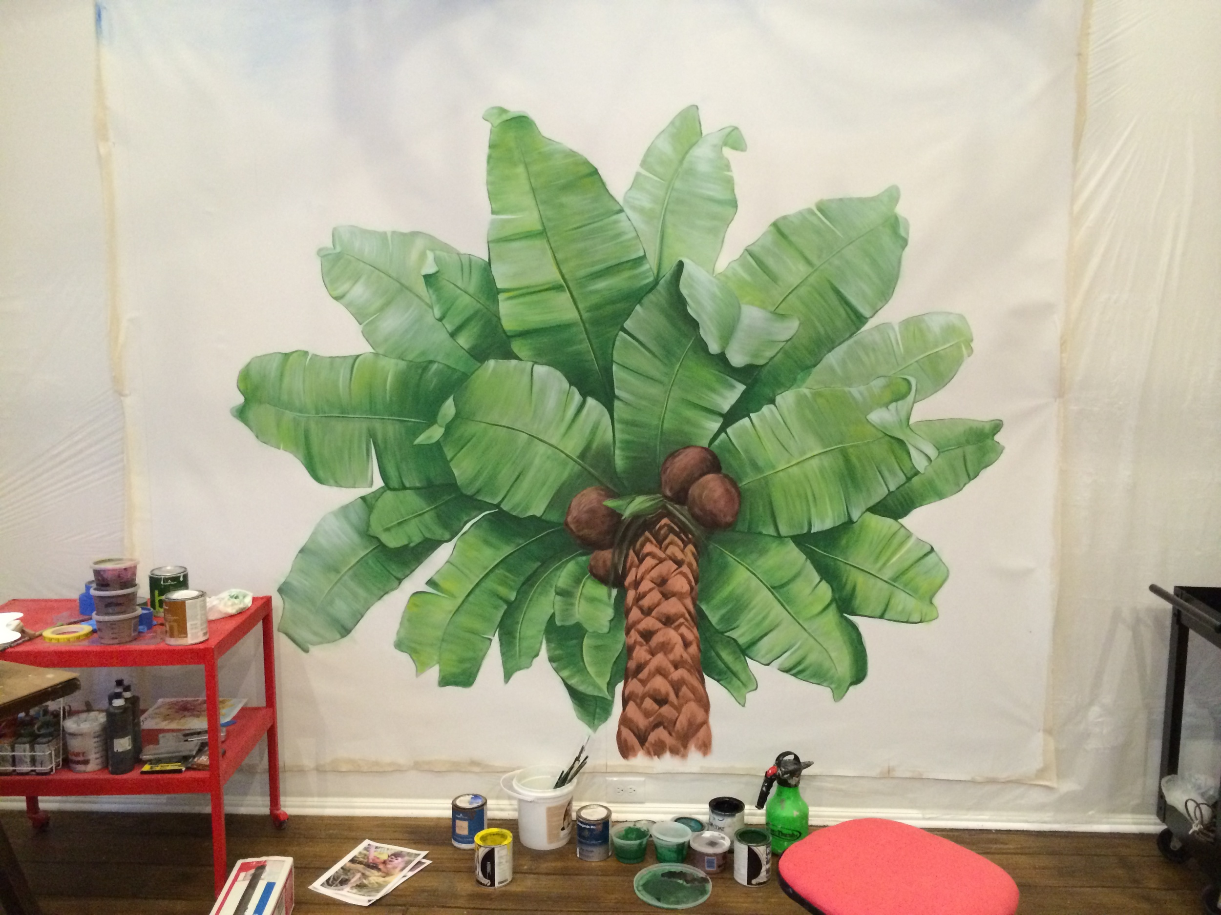 Palm Tree Ceiling Mural