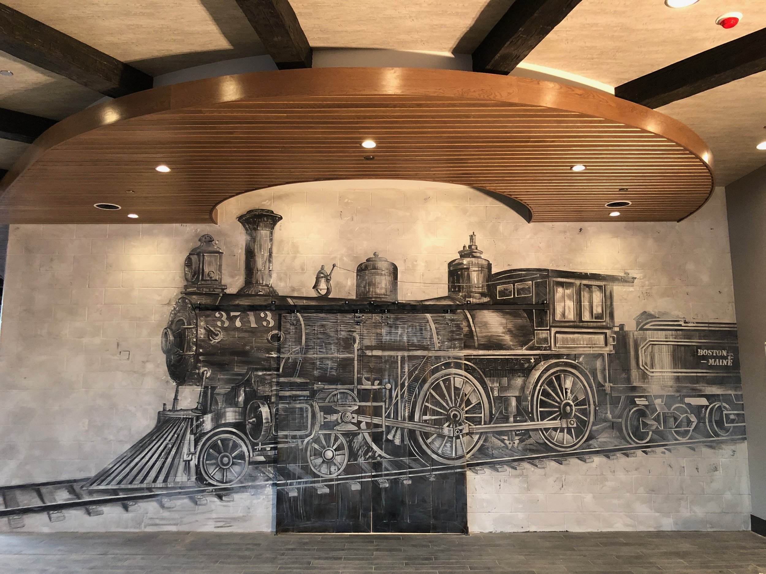 Painted Train Mural