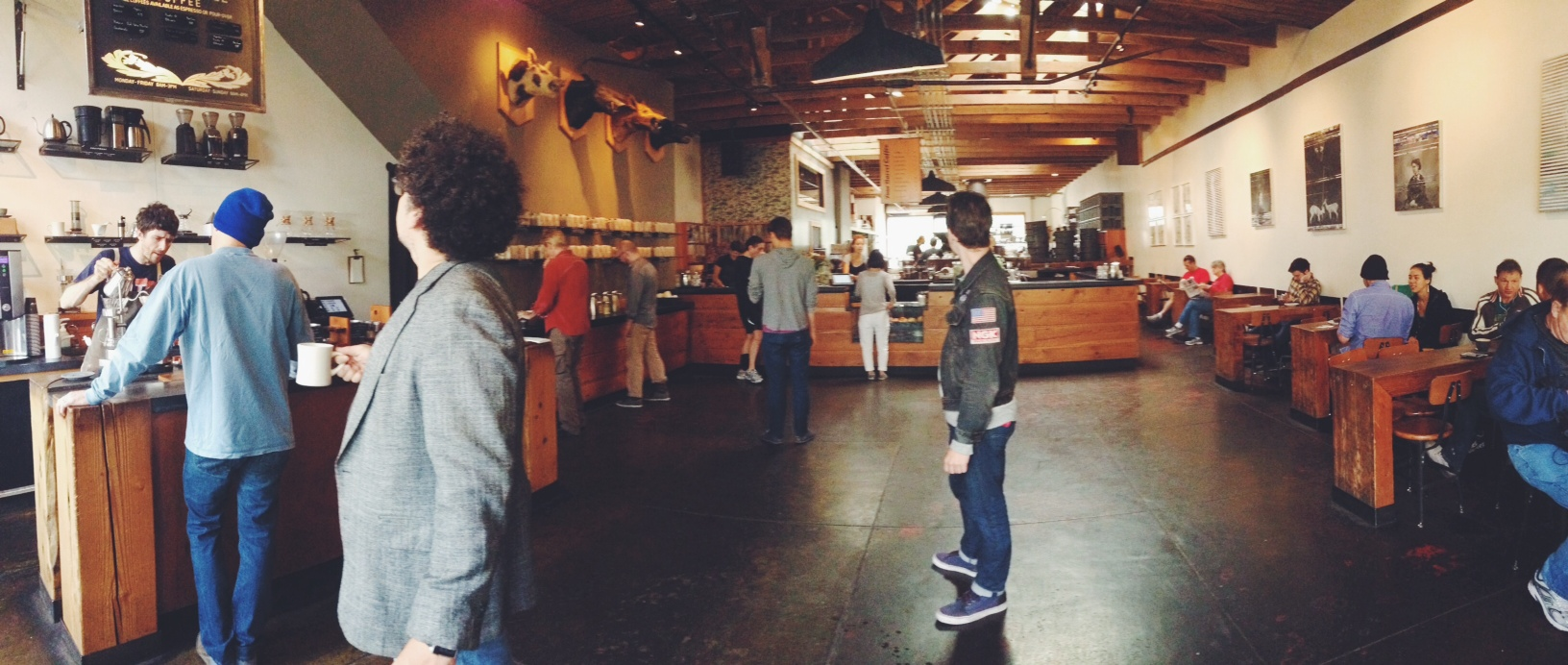 Go and get a coffee from here:  Four Barrel Coffee