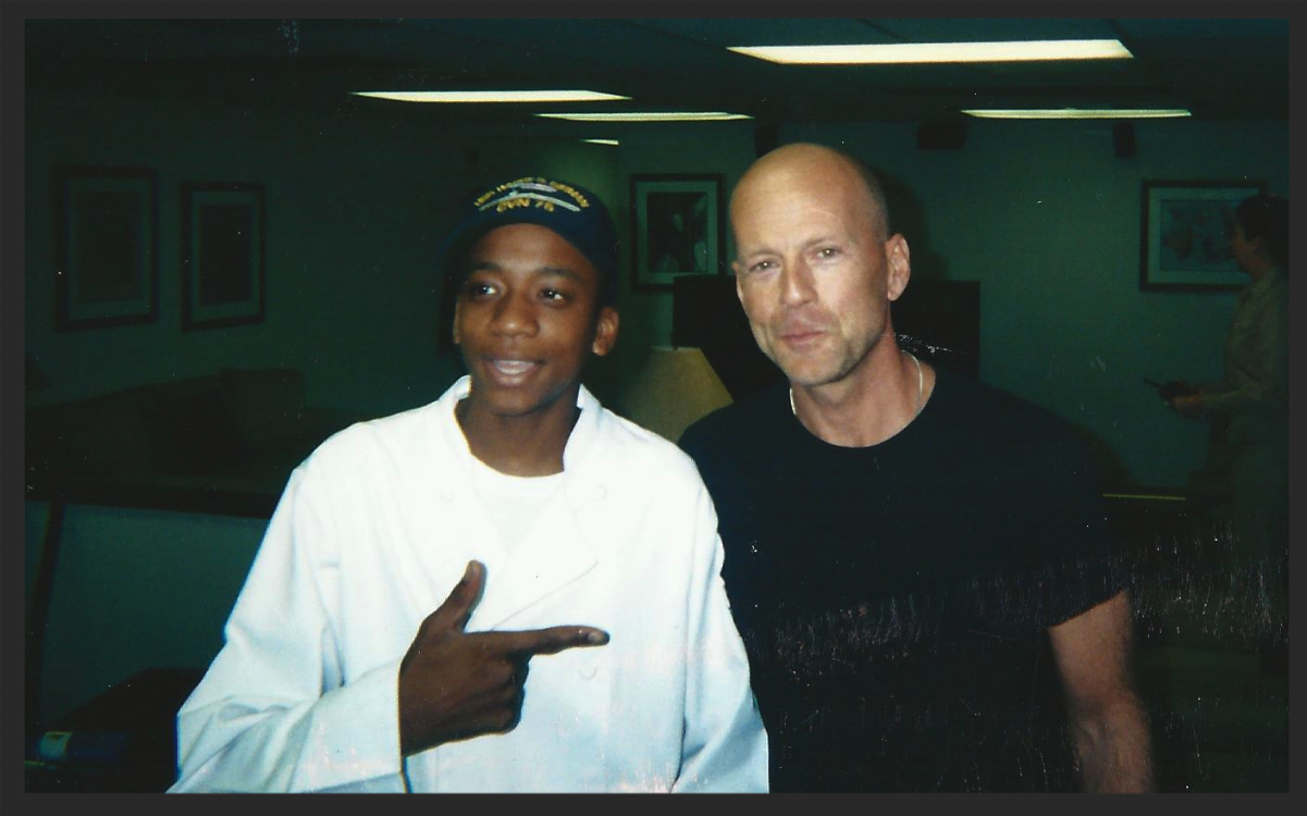 """Chef Kyler cooks for Bruce Willis for Taping of """"Tears of the Sun"""" 2003"""
