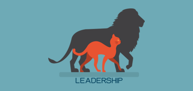 leadership cat and lion silhouette