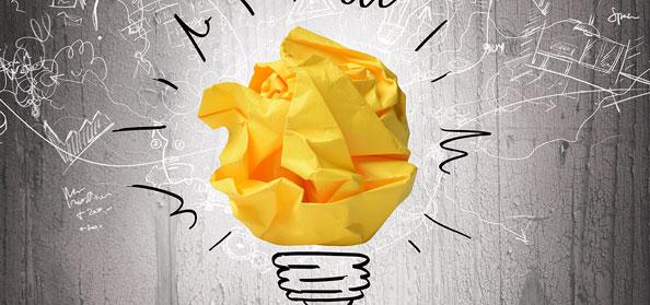 yellow paper light bulb