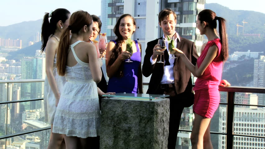 group of young people rooftop