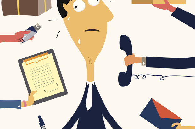 busy stressed out businessman