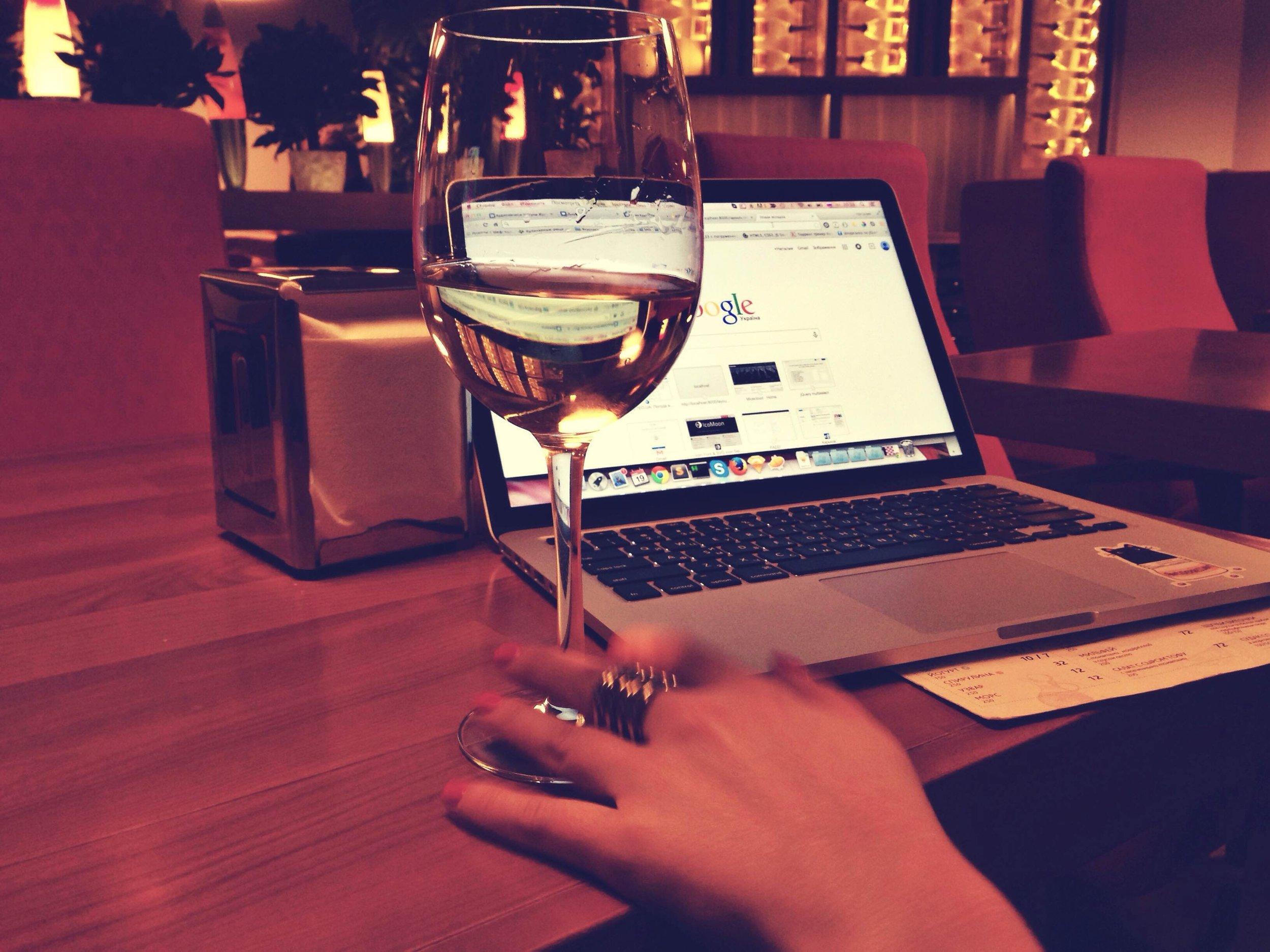 wine while working
