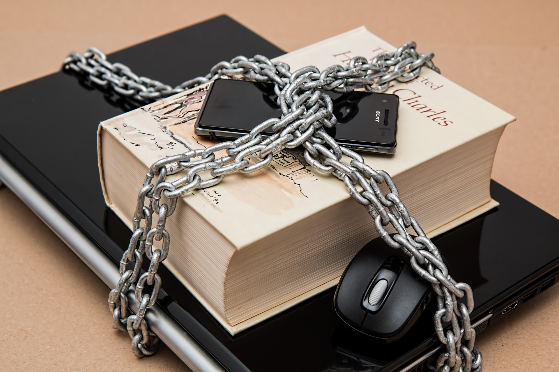 locked books and gadgets