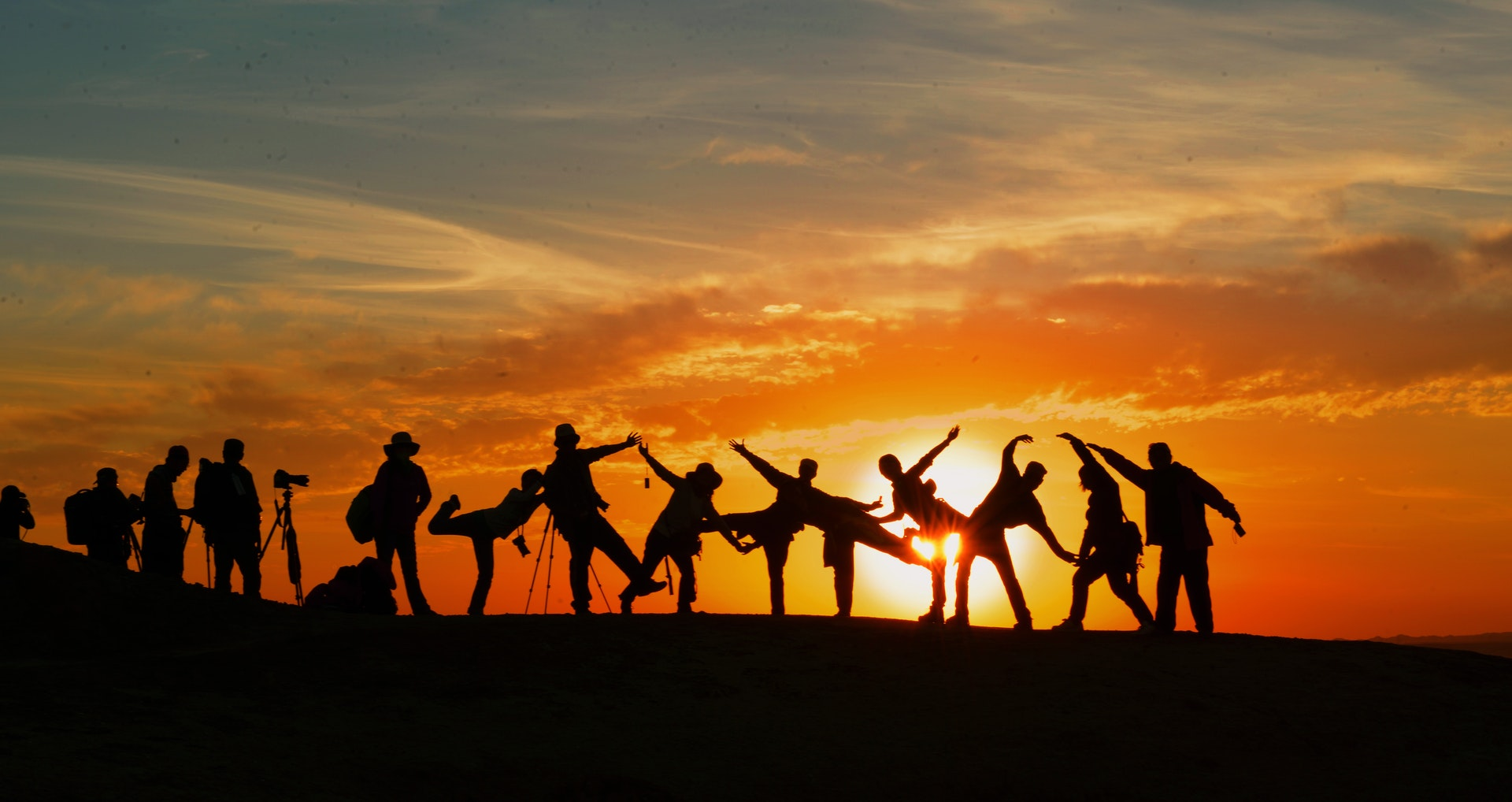 sunset people shadows