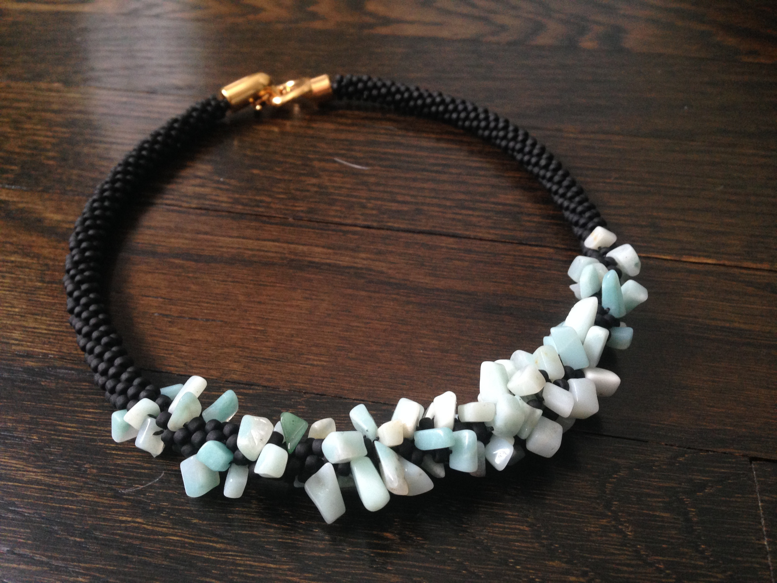 Kumihimo, turquoise and matte black seeds. Two versions live with Janet Watts in Dallas and Lillian Watts in Stamford.