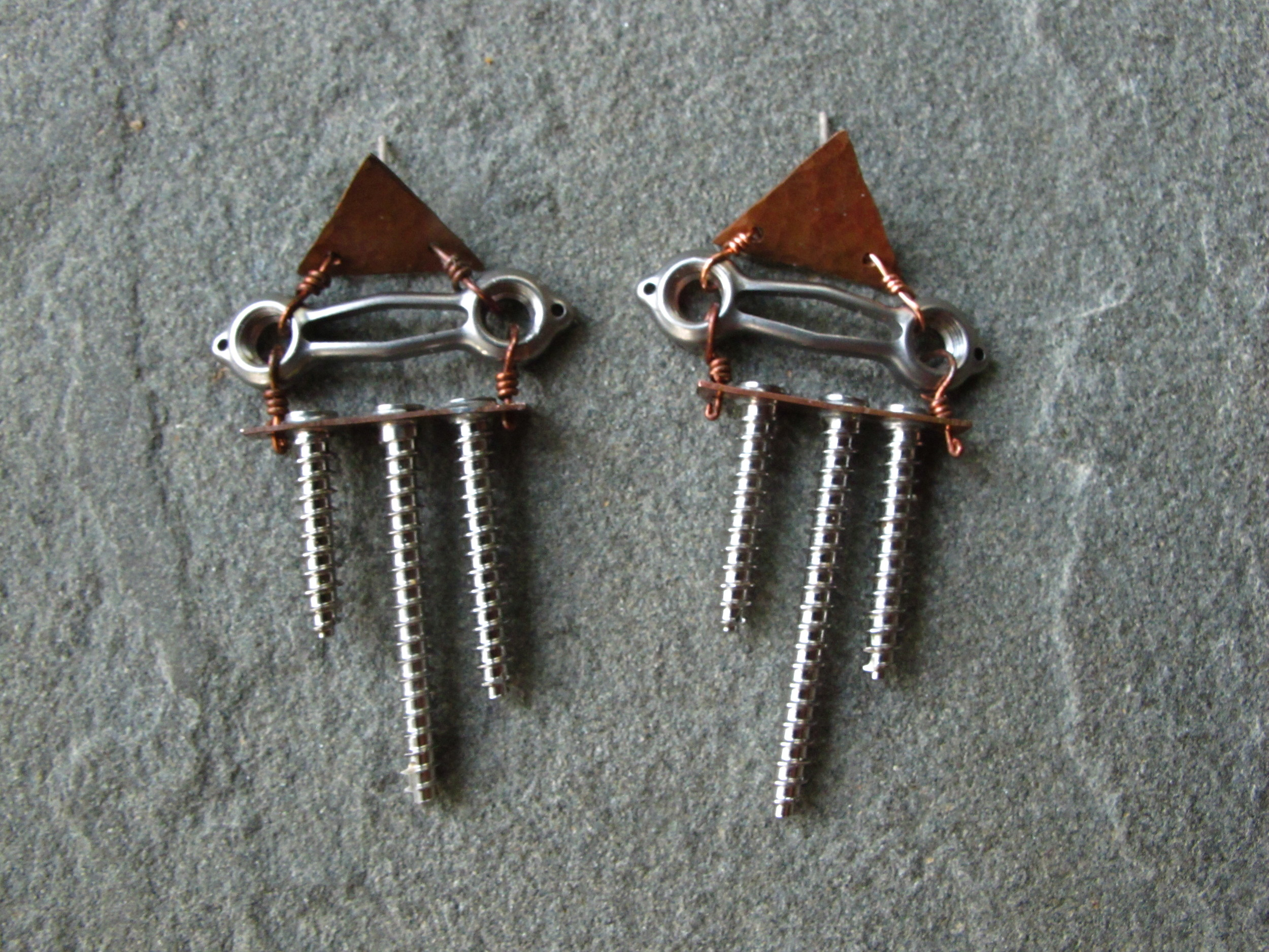 Surgical steel hardware from a foot surgery with hammered copper. Live with Janet Watts (foot injuree) in Dallas