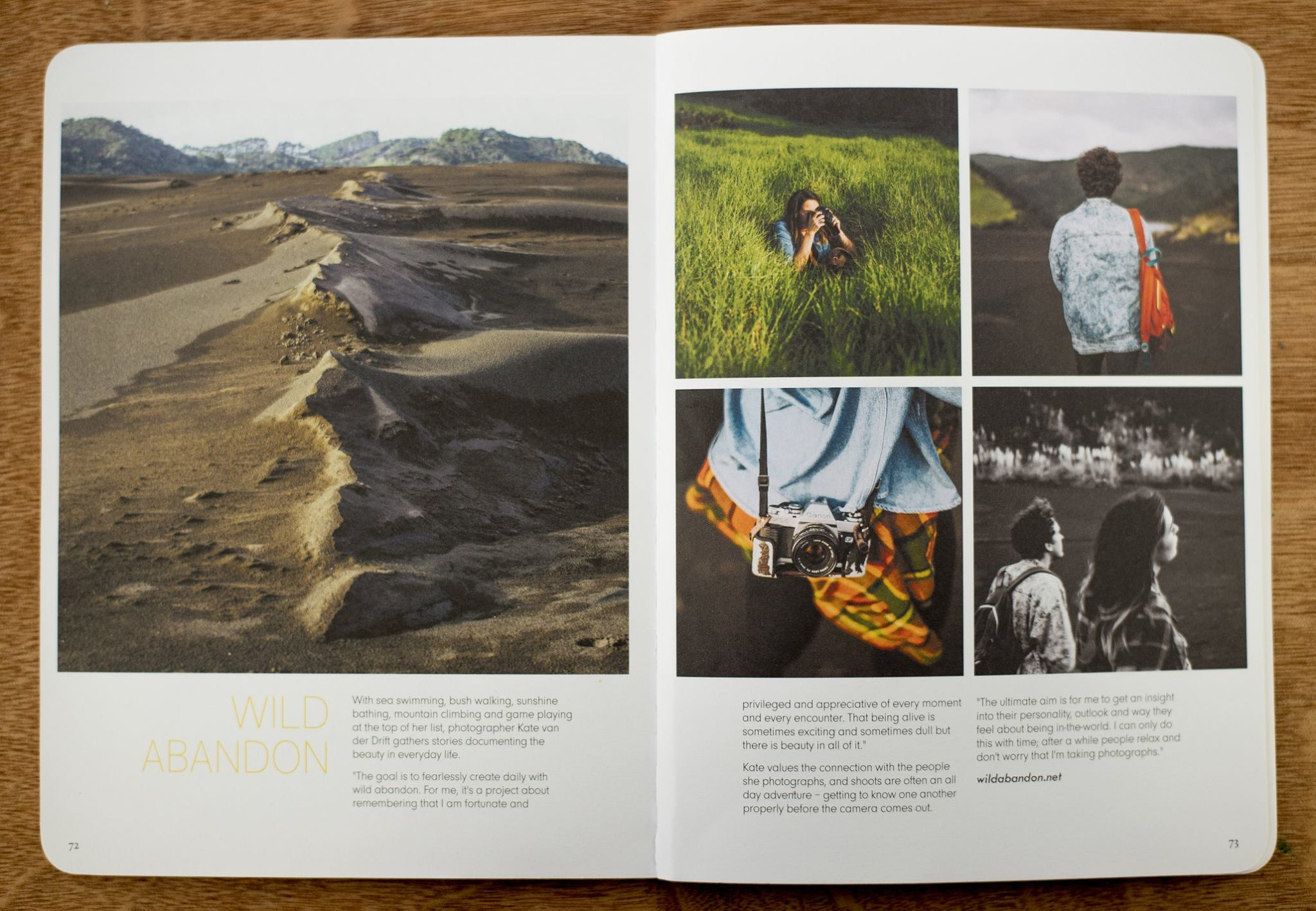 Wild Abandon storytelling photo journal featured in Extra Curricular Magazine.