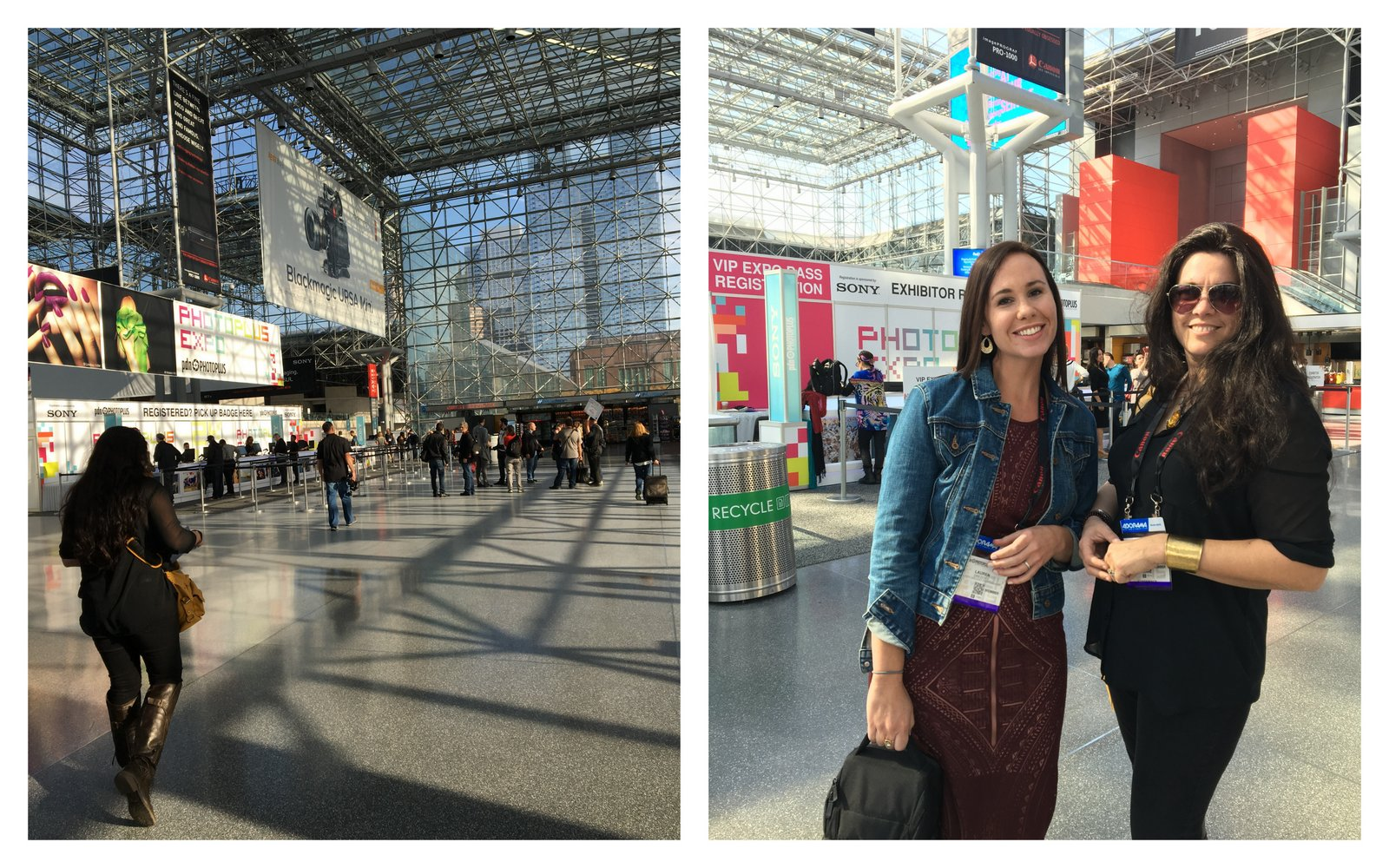 Left: the Javitz convention center where Photoplus 2015 was held.  Big place.  Right: my dear friend and travel buddy Cat with me at the convention center