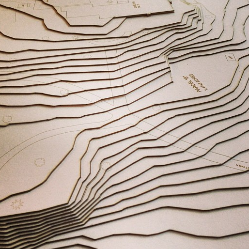 Topography & Contours   Layers upon layers of laser cut wood, museum board, or acrylic make beautiful contours for landscapes.