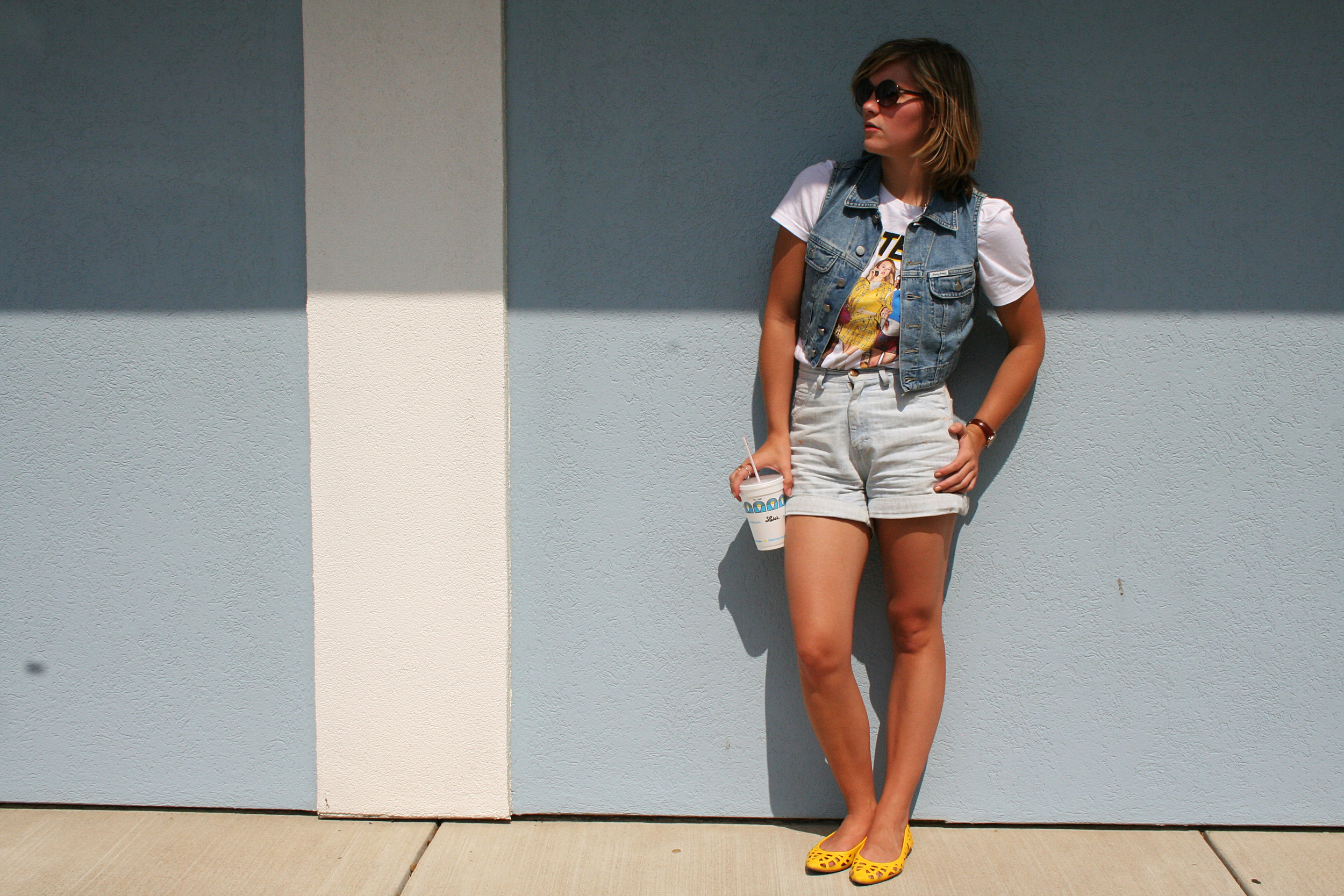 photo: Kierstin | vest: Guess, top: Urban Outfitters, shorts: Goodwill, shoes: Express, sunglasses: Target