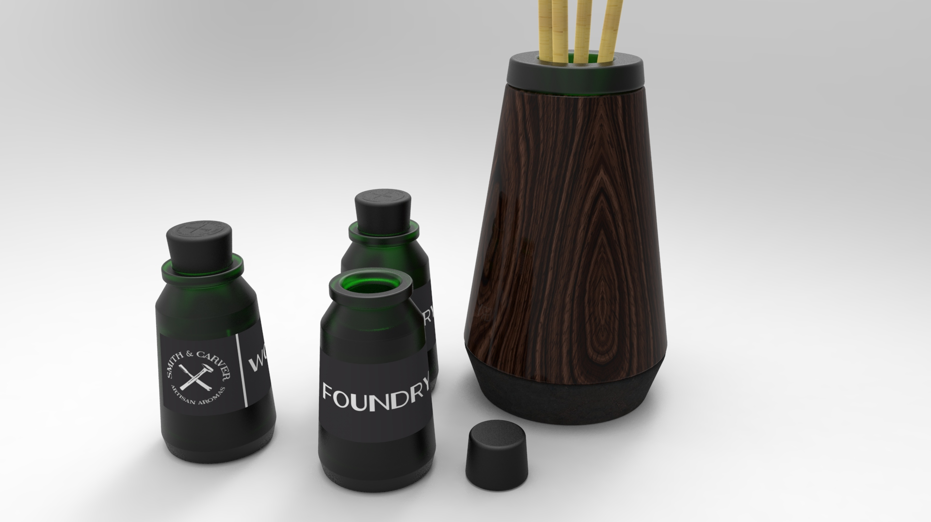 Frosted glass aromatherapy bottles with a diffuser constructed of turned walnut, cast iron, and frosted glass.