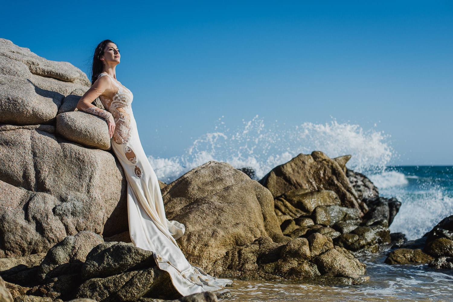 Bride and rocks
