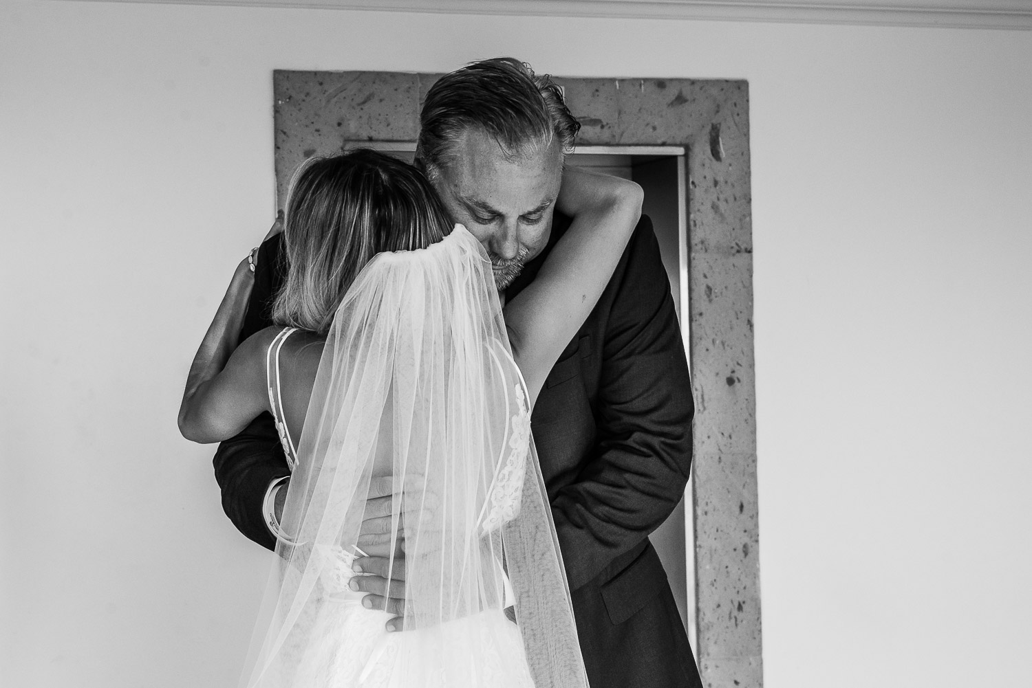 Bride and father fist look
