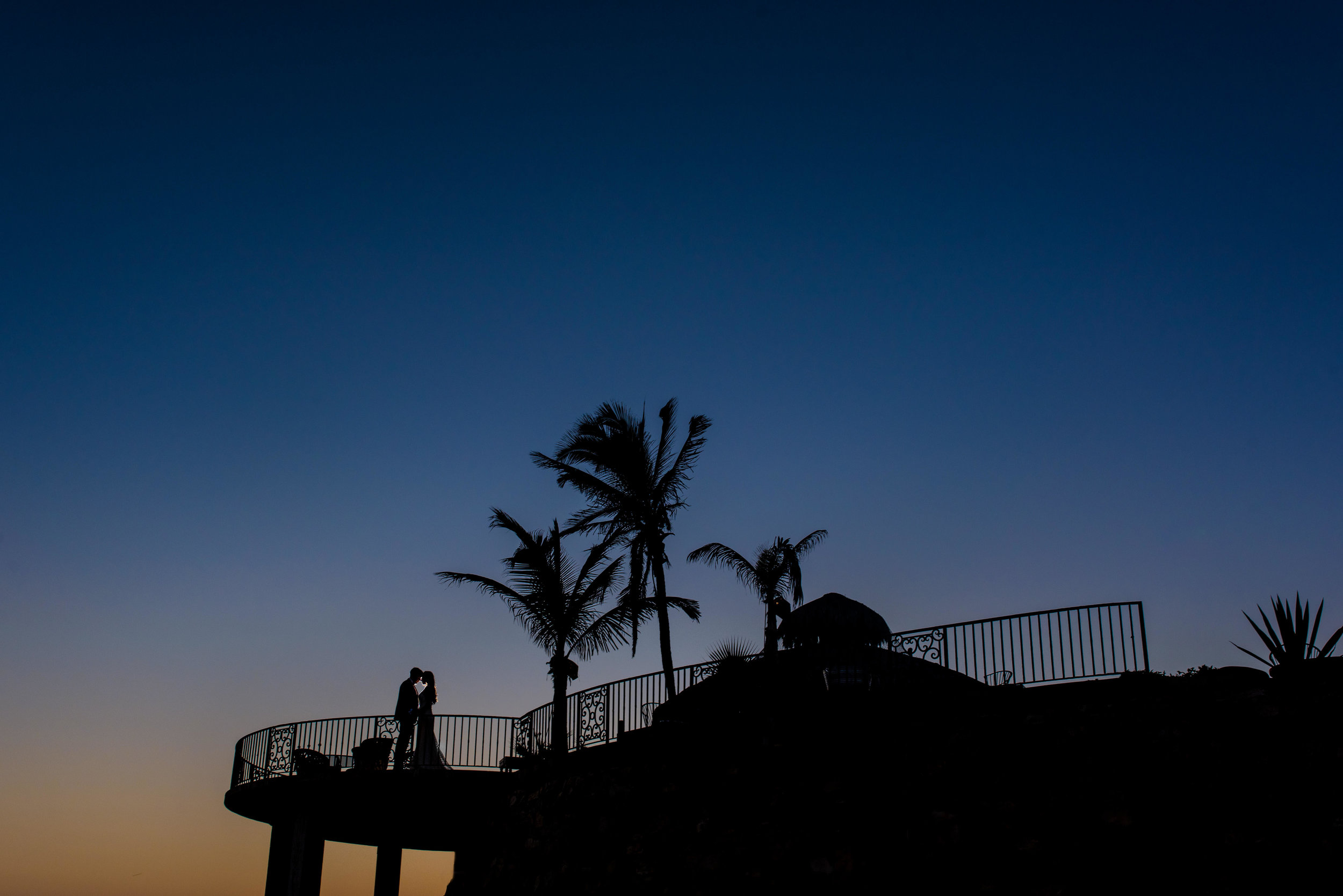 Bride and Groom under the palm trees at Todos Santos during thier sunset photo session with GVphotographer on their wedding day