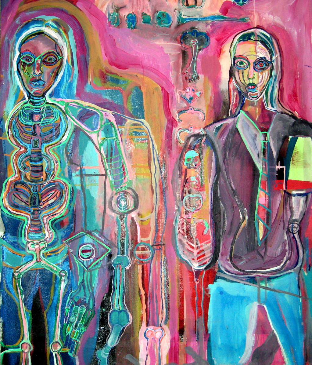 "model man, mixed media on canvas, 36x22"", 2004 (sold)"