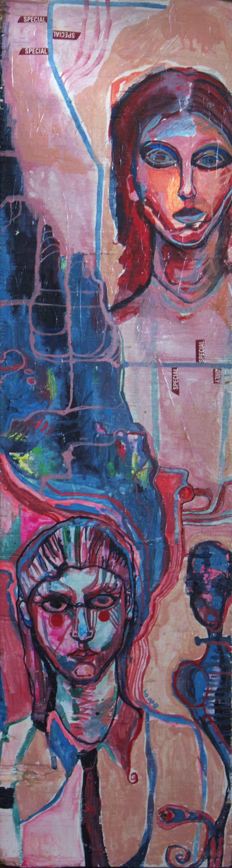"Imagined Memory, mixed media on wood, 26x7"", 2004"