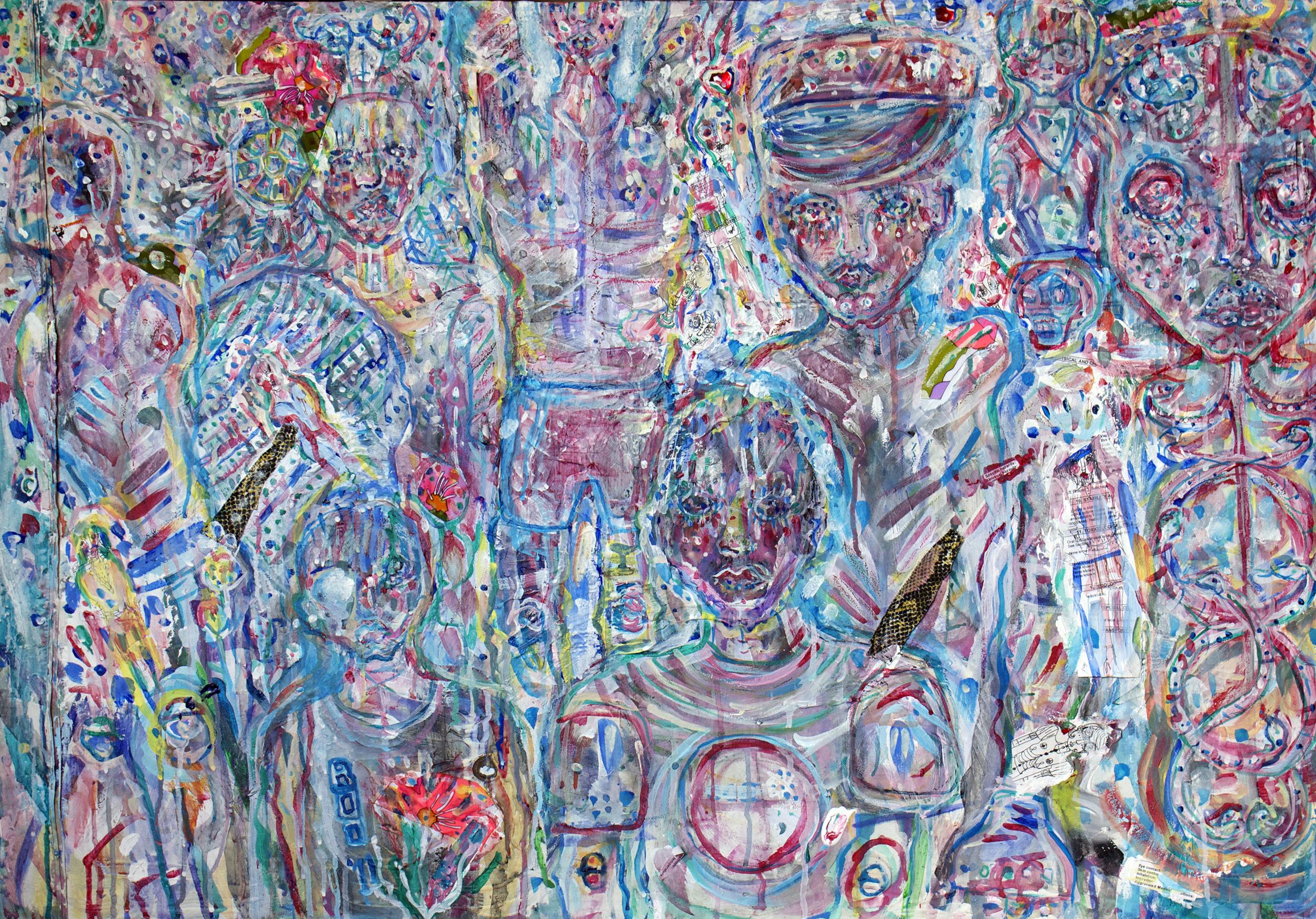 VillagePeeps, mixed media on canvas, 2.5x3.5ft, 2011