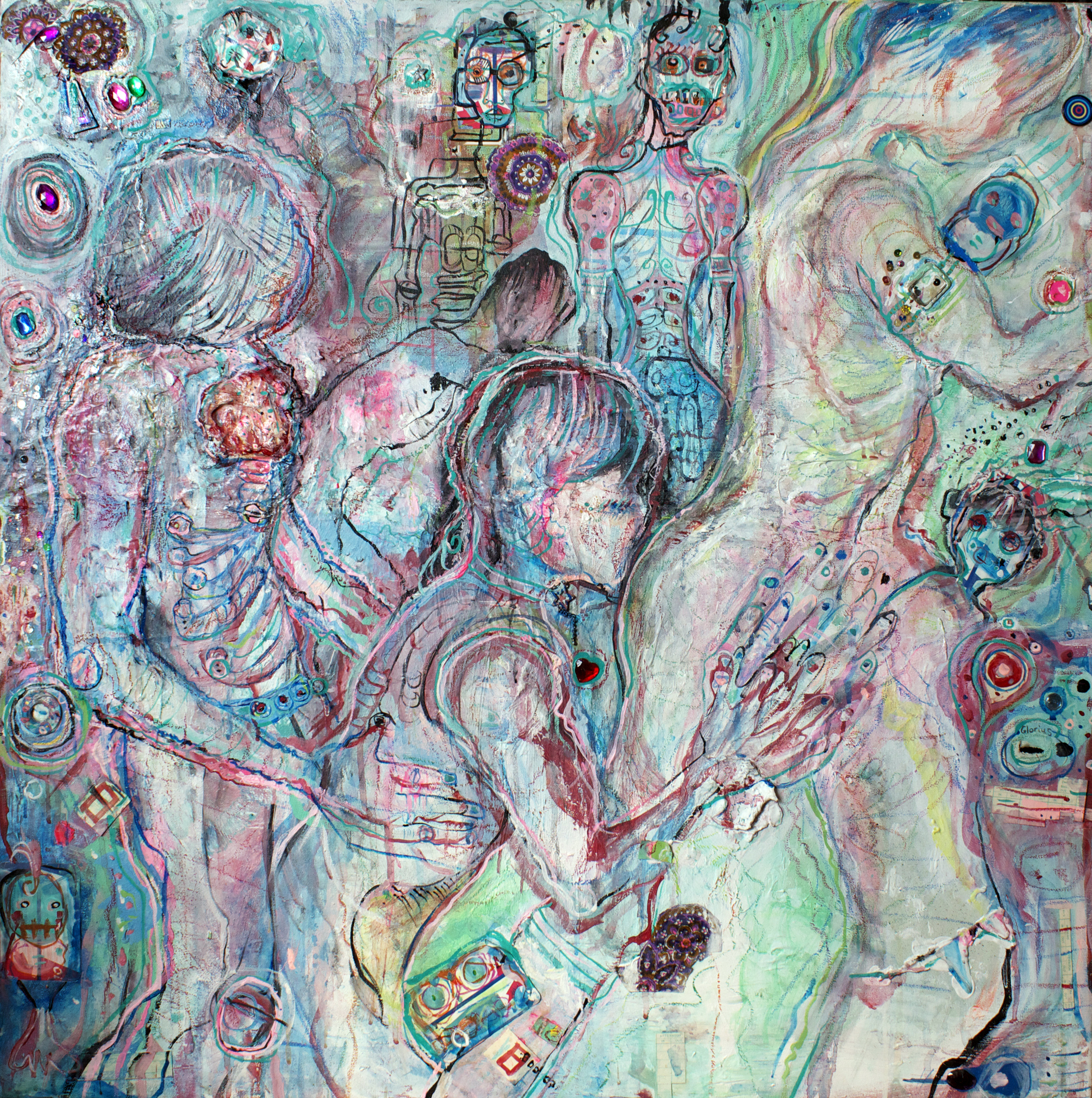Stahlrohr, mixed media on canvas, 3x3ft, 2007