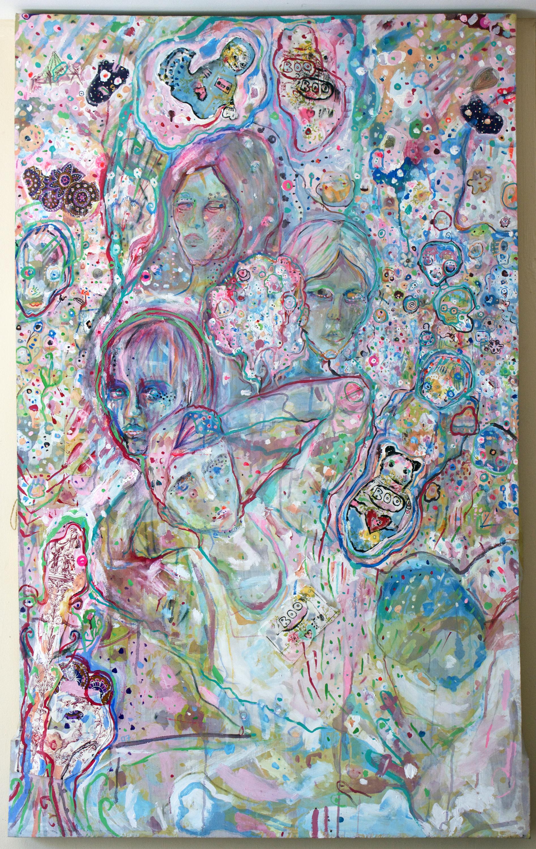 """Gang-Bang Gang, mixed media on canvas, 59x38"""", 2007"""