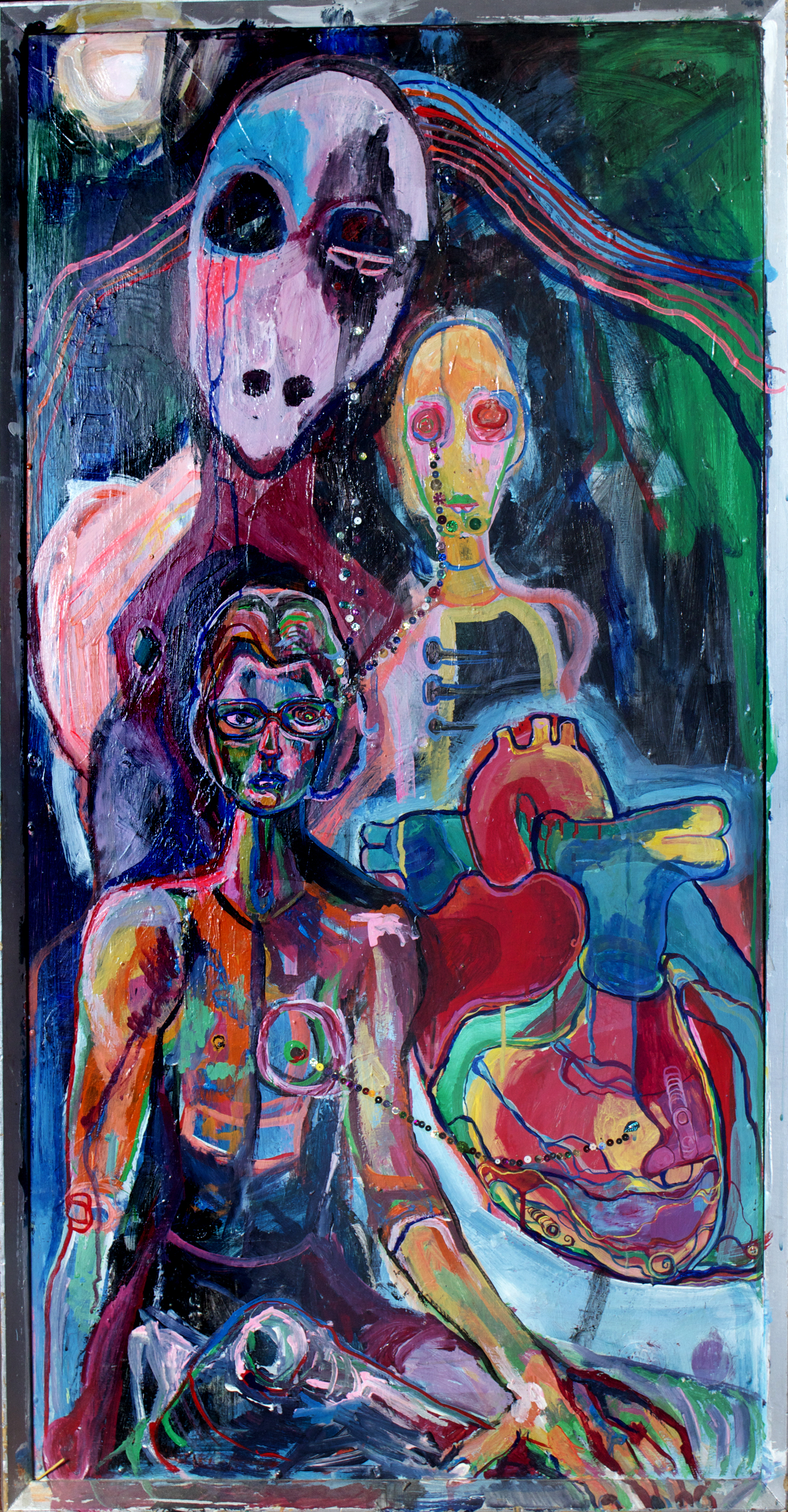 """Ghost of fashion Yves Heart, mixed media on wood, 49x26"""", 2004"""