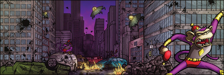 Traditional & Digital Illustration - Purple Monkeys