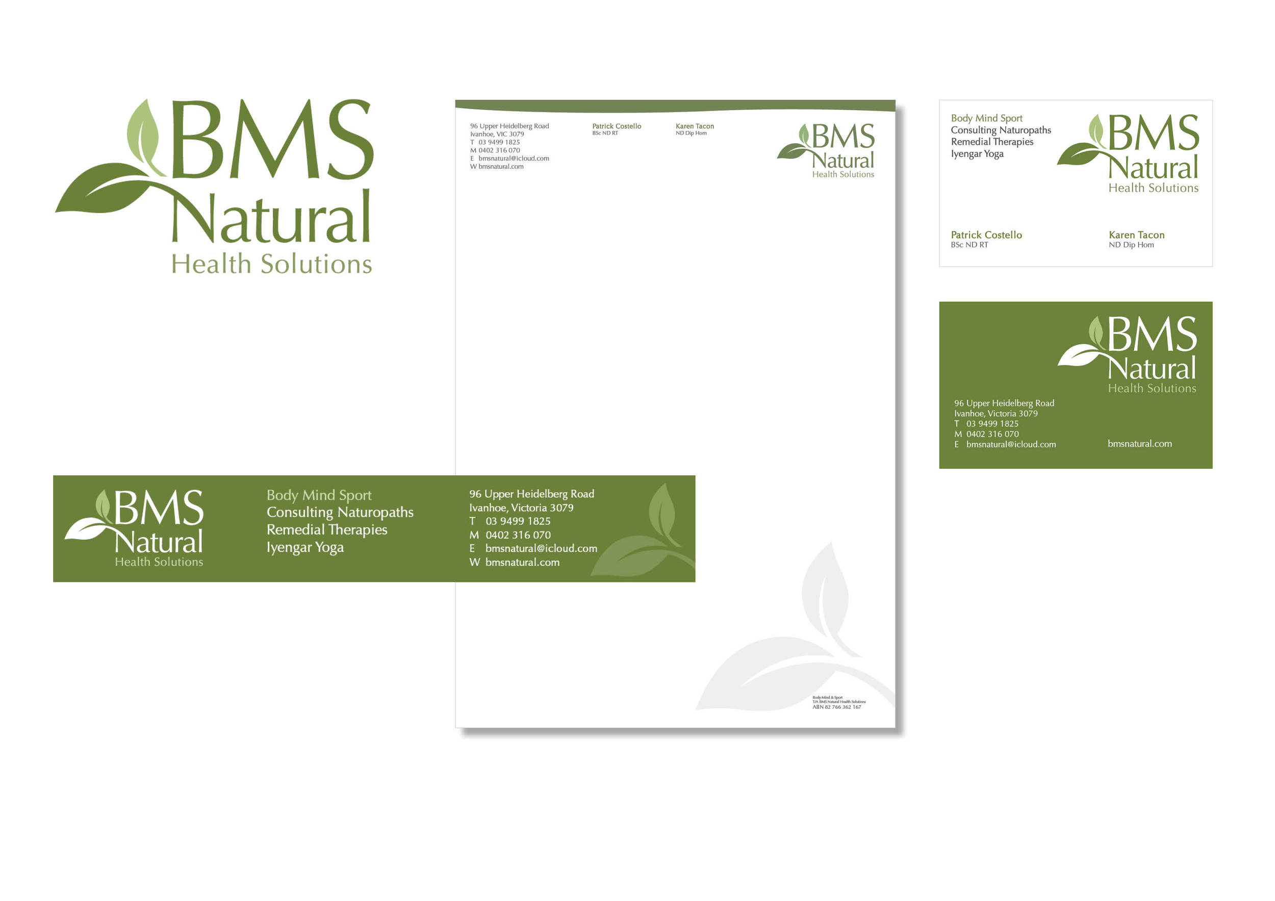 Corporate identity for BMS Natural Health Solutions