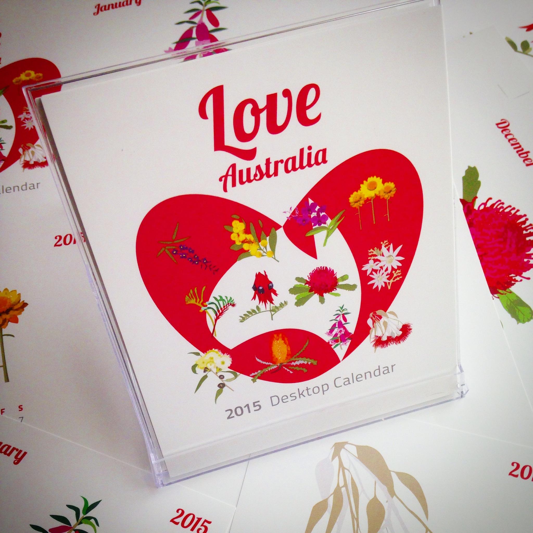 'Love Australia' 2015 Desktop calendar. All images copyright johndaveydesign 2014