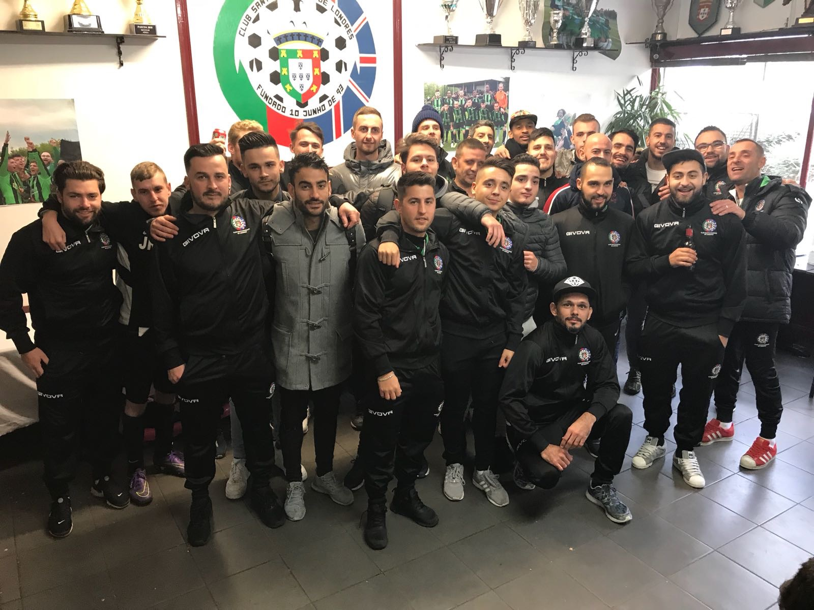 Orpington Eagles show their is no hard feelings after their thumping at the hands of Club Santacruzense de Londres in the home team's café after the match. Pic courtesy of Orpington Eagles twitter