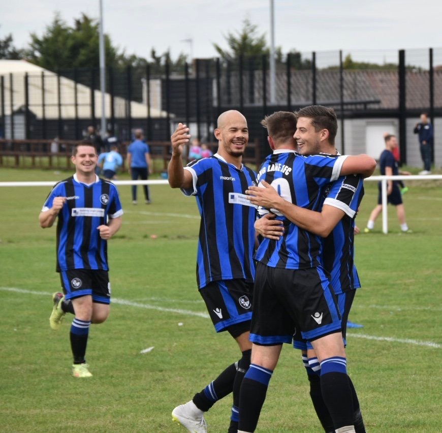 Long Lane celebrate a goal against Mottingham Forest in their Dewar Shield tie.   Another superb photograph from @touchlinep whose Copyright Remains.