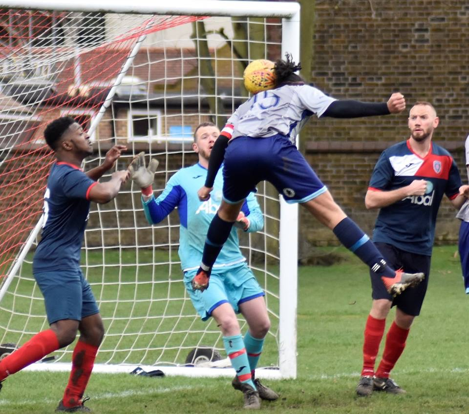 Action from Peckham Rye v Springhill United Res as Springhill score. (C) Jenny Verrillo