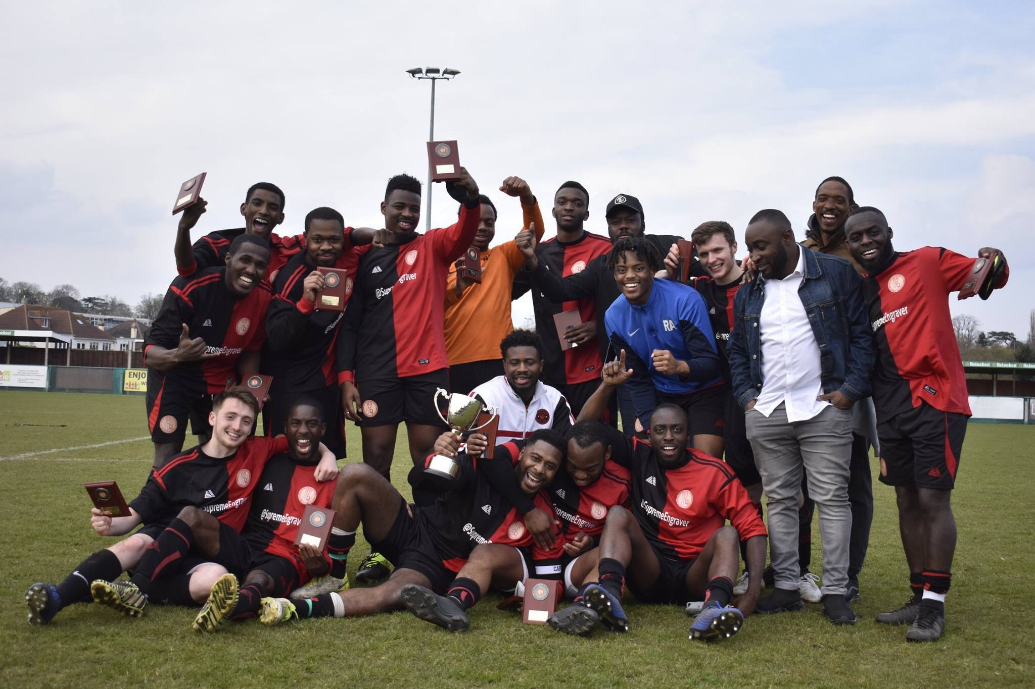 JAM celebrate winning the 2018/19 Presidents Cup after a 1-0 win over Barnehurst at VCD FC