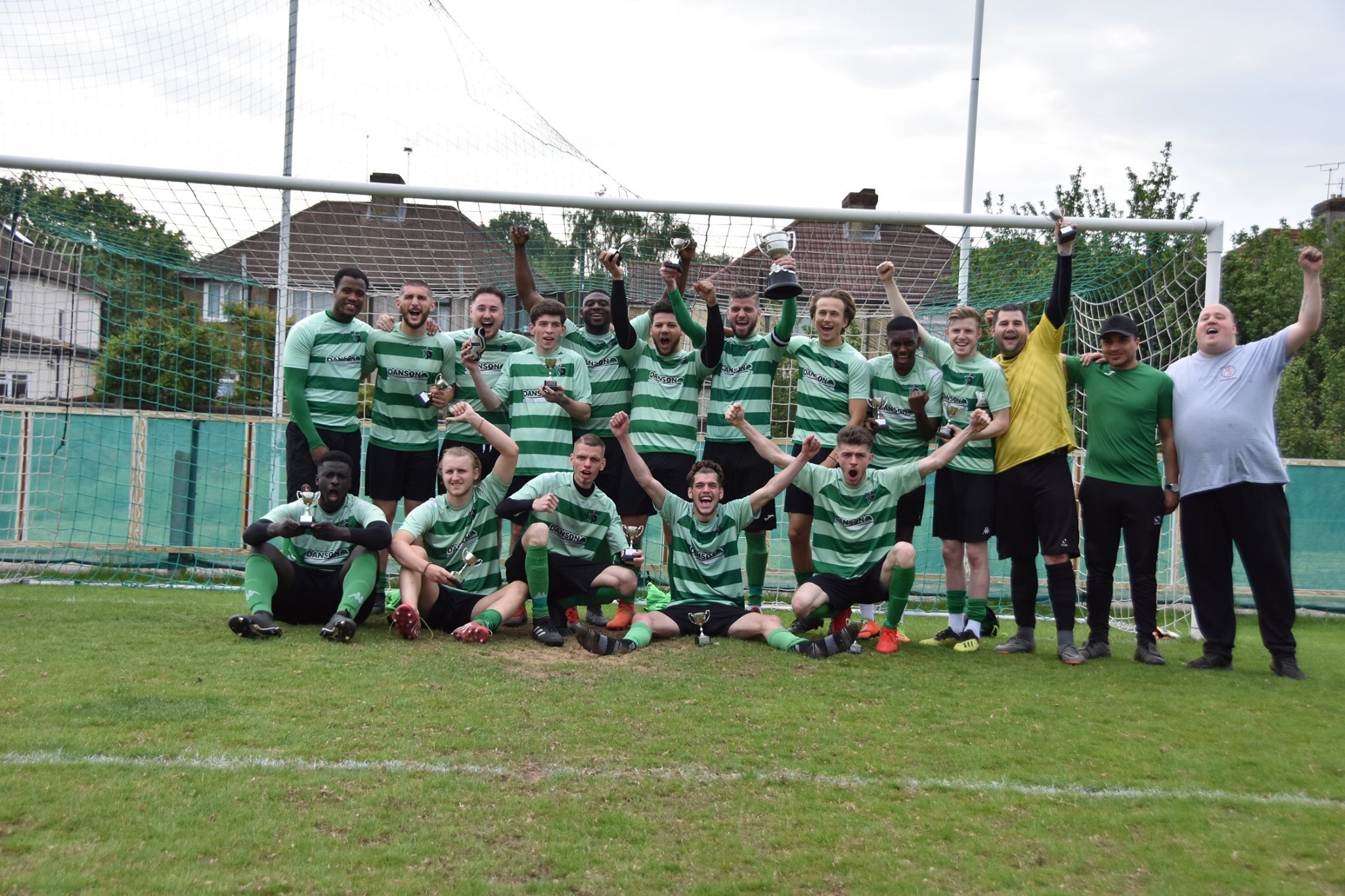 Welling Town A celebrate winning the 2018/19 Plumstead Challenge Cup at VCD Athletic FC