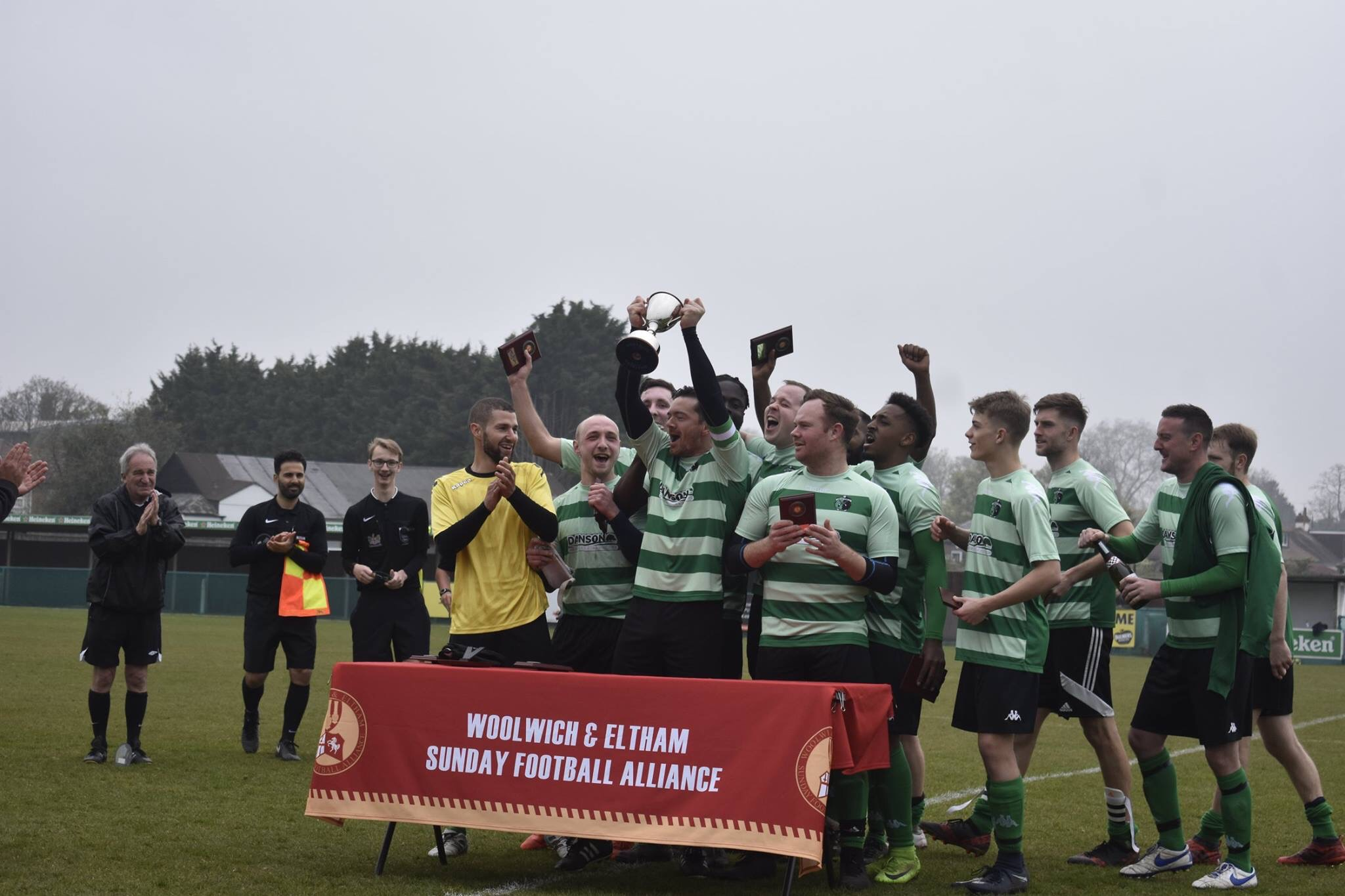 Welling Town celebrate winning the 2019 Supreme Engraving Fair Play Invitational Cup at VCD FC