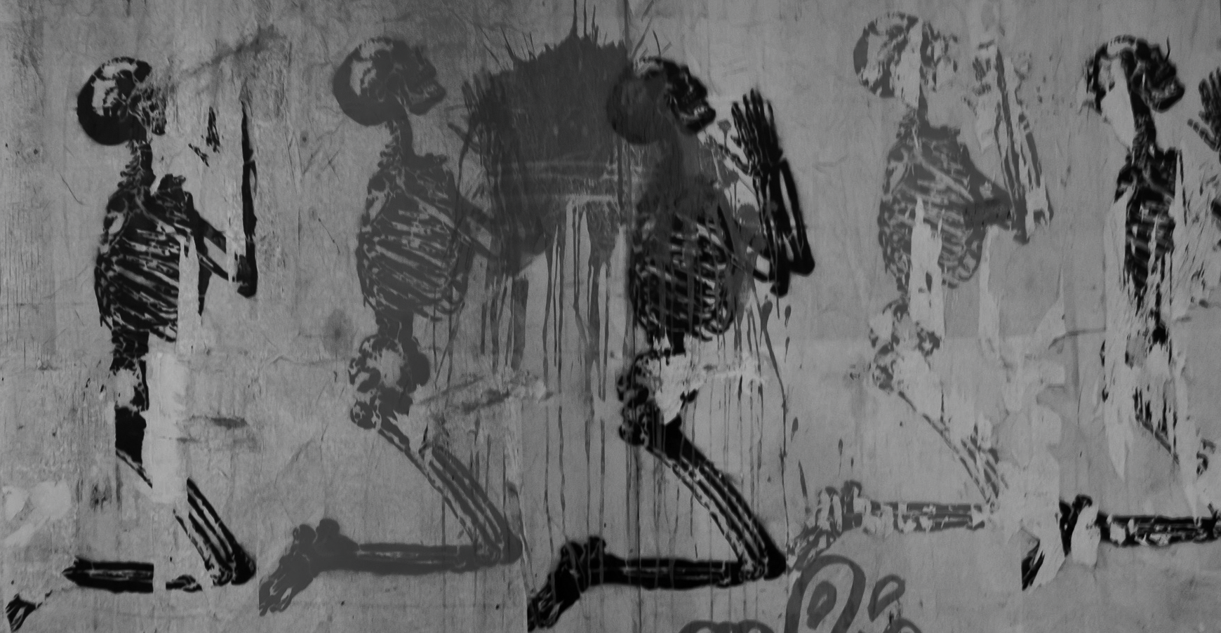 Graffiti depicting William Cheselden's Praying Skeleton, originally printed in Osteographia (1733).