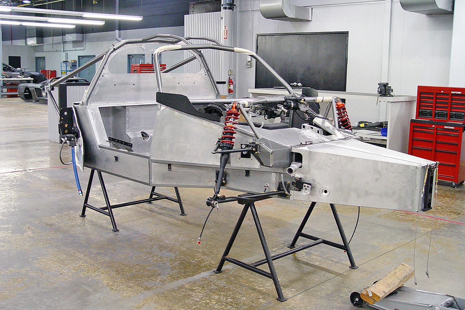 Saleen S7 chassis being dressed