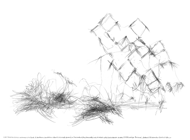 生命移轉:園丁與管理員在石牆縫隙和河床上除草時的手部運動/夙川/日本西宮市/2000.11.25  LIVE TRANSMISSION: movement of the hands of GARDENERS and CARETAKERS while weeding cracks in stone walls and the riverbed/ Shukugawa River, Shukugawa, Nishinomiya Province, Japan, 2000.11.25    30.9x40.6cm / 12.125 x16 inches  51.5x54.4cm / 20.3 x 21.5 inches(含框)  鉛筆與紙/graphite on paper