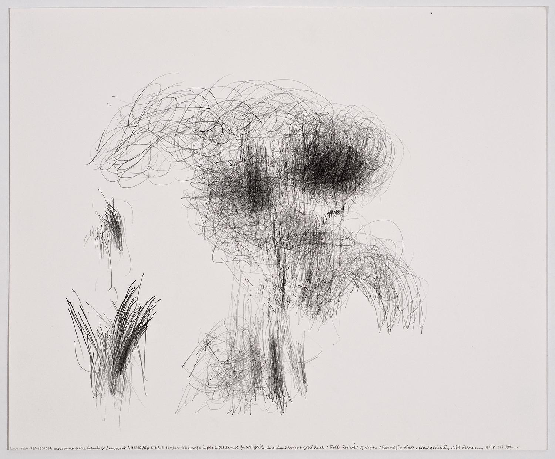 生命移轉:歌舞伎演出祈求豐收、平安、繁榮的獅子舞/日本民謠節/卡內基音樂廳/美國紐約/1998.02.29  LIVE TRANSMISSION: movement of the hands of dancers of SHIMOURA SHISHI HOJON-KA / performing the LION DANCE for prosperity, abundant crops and good luck / Folk Festival of Japan / Carnegie Hall / New York City, 1998.02.29    35.7 x 43cm / 14 x 17 inches  鉛筆與紙/graphite on paper
